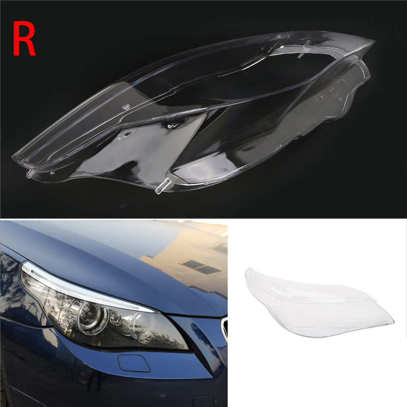 1PC Front Right Side PC Clear Headlight Cover For BMW 5 Serice E60 E61 520i 520d 523i 525i 530xi 535d 540i 545i 550i newest design e61 e60 led marker angel eyes car headlight for bmw 525d 525i 525xd 525xi 530d 530i 530xd 530xi 535d 550i m5