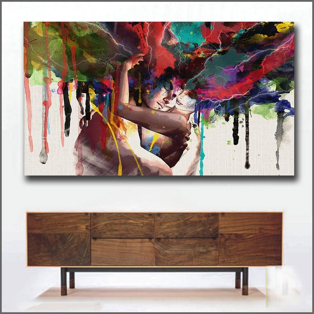 Wlong Amor Beijo Pinturas de Arte Para Parede Da Sala de estar da Lona Pintura A Óleo Sem Moldura Decorativa Pictures Pintura Da Arte Abstrata
