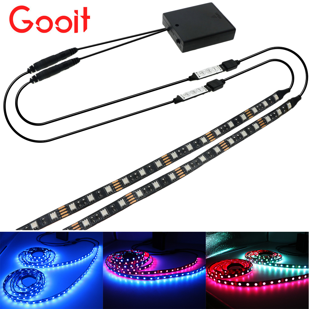 5050 LED Strips 5V TV lights 1 to 2 RGB Black PCB Cabinet light bicycle lamp With 2Pcs RGB Controller 4*AA Battery pack