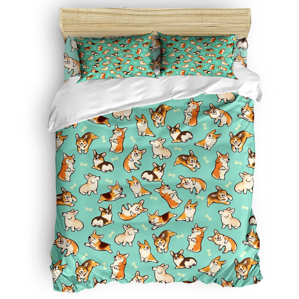 Jolly Corgis в зеленом пододеяльнике 3D хлопок King size постельные принадлежности набор покрытий одеяло набор постельных принадлежностей для односп