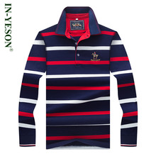New Arrival Embroidery Horse Logo Polo Shirt Men IN-YESON Brand Long Sleeve Cotton Striped Casual Business Men's Polo Shirt
