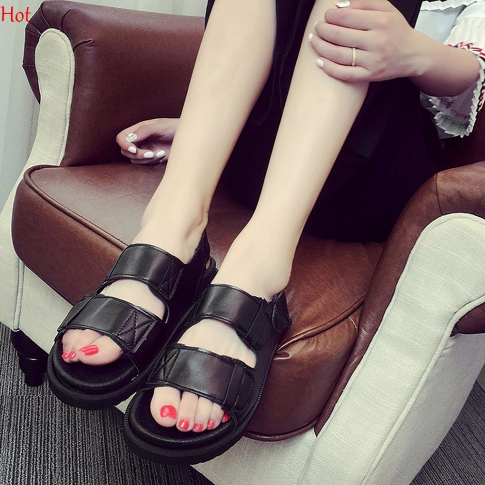 2017 Hot Summer Shoes Woman Platform Sandals Women Soft Leather Casual Peep Toe Wedges Ladies Shoes Flats Sandals Silver Black phyanic gold silver wedges sandals 2017 new platform casual shoes woman summer buckle creepers bling flats shoes phy4040