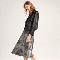 Весна осень женские кожаные пальто из овечьей кожи черные мотоциклетные кожаные свободные женская верхняя одежда кожаные куртки FC104