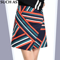 New 2016 Stitching Asymmetrical Skirt Women's Black Stripe High Waist Mini Skirt Plus Size S-3XL Ladies Winter Skirts