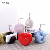 Love Ceramic emulsion bottle Shower Gel shampoo packaging machine Hand sanitizer bottle Bath bottles Liquid soap bottle