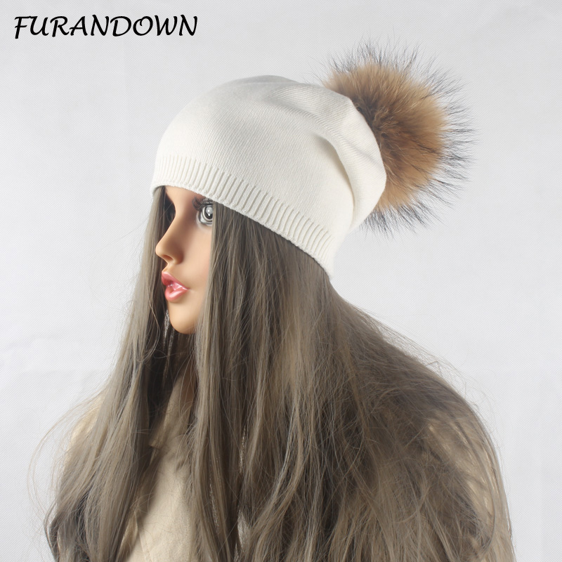 Winter Autumn Pom Pom Beanies Hat Women Knitted Wool Skullies Casual Womens Cap Real Raccoon Fur Pompom Hats