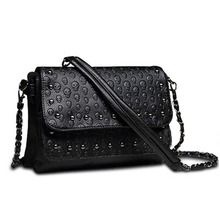 New 2017 rivet sac a main soft Women Leather Handbags Women Messenger bags Brand Clutch Skull Crossbody Bag Small Shoulder bag