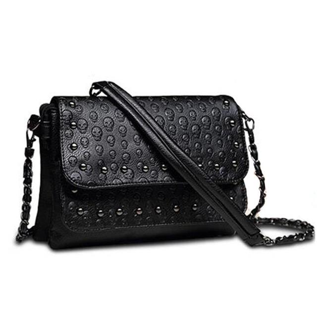 New 2017 rivet sac a main soft Women Leather Handbags Women Messenger bags Brand Clutch Skull Crossbody Bag Small Shoulder bag