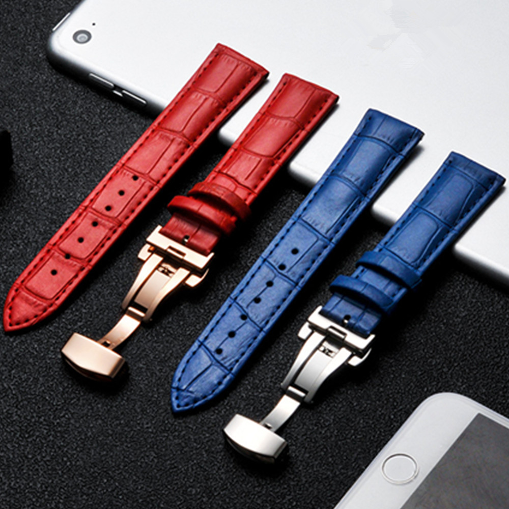 14 15 16 17 18 19 20mm Genuine Leather Watch Bands Replacement Butterfly Clasp Buckle Blue Crocodile Grain Strap Watchbands