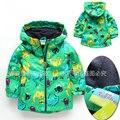 Новый 2017 baby clothing весна осень дети куртки ребенок ветрозащитный верхняя одежда мальчики динозавров пальто кардиган