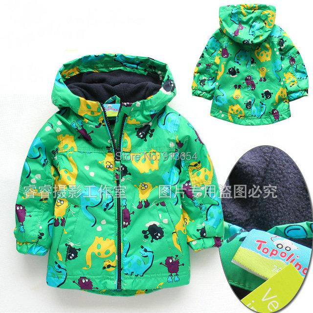 Nuevo 2017 baby clothing otoño primavera kids chaquetas a prueba de viento niño prendas de vestir exteriores capa de la rebeca de los bebés de dinosaurio