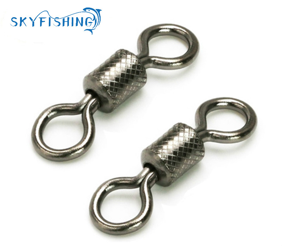 Lot 100Pcs Fishing Ball Bearing Swivels Solid Rings Quick Snap Connector Tackle