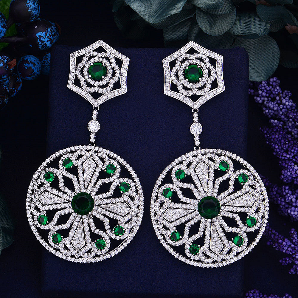 Long 80mm Luxury Knight Symbol Flower Cubic Zirconia Women Wedding Bridal Earring Jewelry Collection