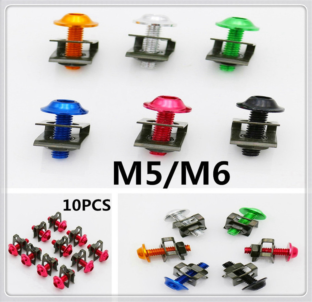 Motorcycle M5 5mm 6mm m6 Fairing Fastener Clips Screws Spring Nut Bolt for <font><b>HONDA</b></font> CBR500R <font><b>CB500F</b></font> X GROM RC51 RVT1000 SP1 SP2 image