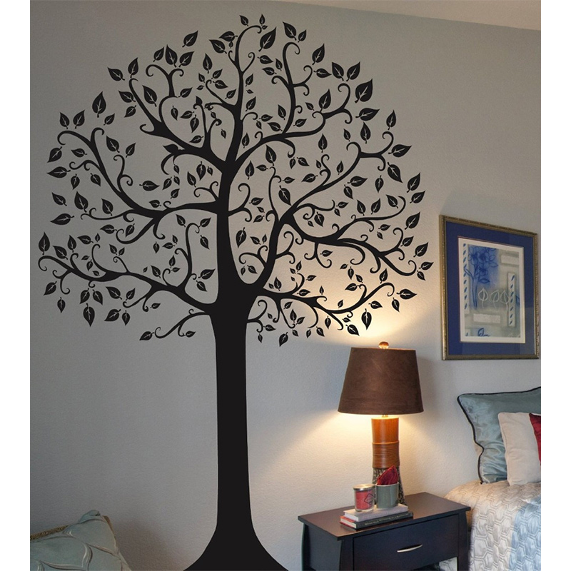 US $26 99 25% OFF|Beautiful adhesive vinly large tree wall mural wall art  wall sticker home decoration 56inchX72inch-in Wall Stickers from Home &