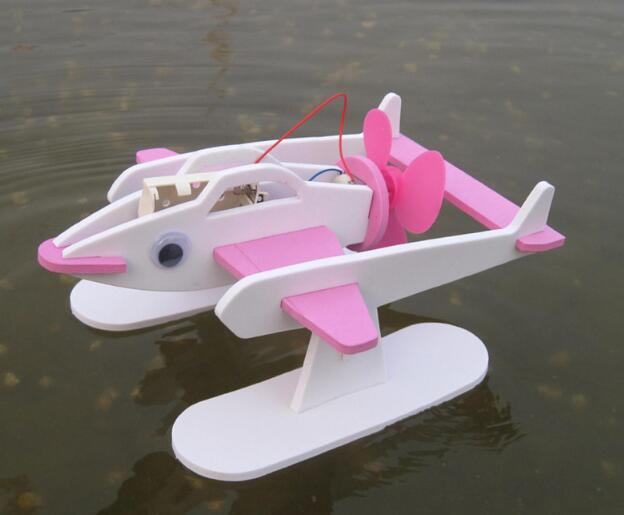 Electric Air Blade Dynamic Seaplane Model Diy Puzzle Handicraft Class Students Toys Educational Electronic Airplane Accessories