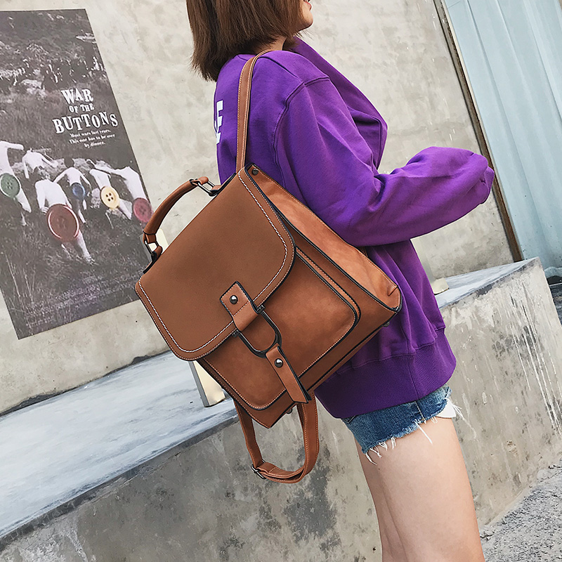 Vintage Women Backpacks Travel Female Fashion Rucksack Student School Bag Backpack Daypack Brown PU Leather Women Shoulder Bags