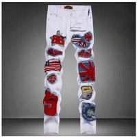 US Flag Badge Patch Mens Denim Jeans Pants 2017 Fashion White DJ Singer Jeans Pants Designer Brand Slim Fit Pencil Jeans 30-36
