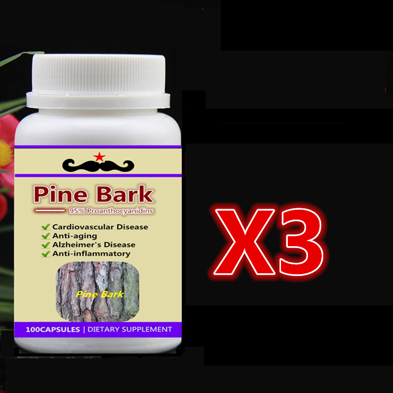 3 bottle 300pcs 95% OPC Pine Bark Extract, For Cardiovascular Alzheimer Anti-aging Anti-inflammator,Free shipping