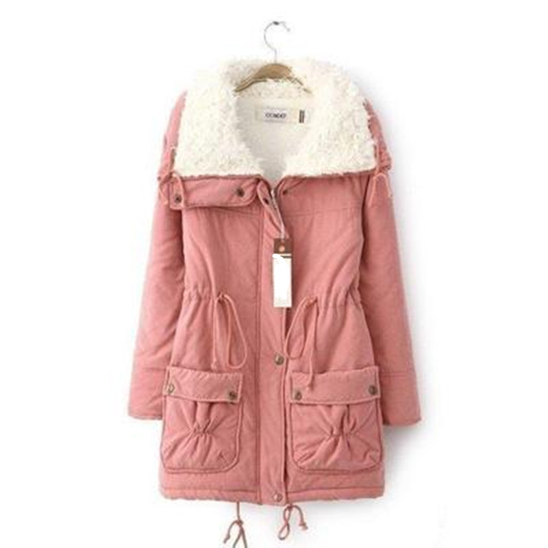 Casual Winter Wool Liner Women   Parkas   Multi-color Female Thick Outwear Coat xxl Single Breasted Army Green Top Coat