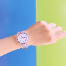 Креативные милые повседневные небольшой свежий Часы Простой прозрачные полосы каракули ручная роспись пару студентов часы женщины и мужчины прилив
