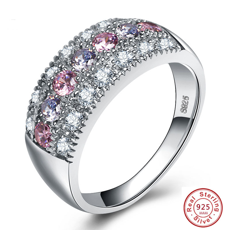 925 Sterling Silver Round Rings for Women Engagement Wedding Clear Big 1ct Color AAA Zircon Jewelry Bague Bijoux Size 6 7 8 9 10(China)