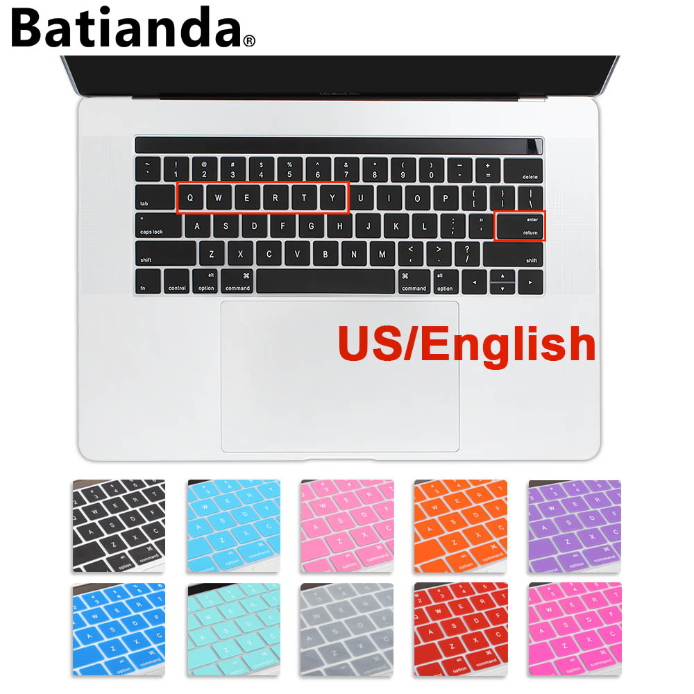 Couverture de clavier en Silicone pour MacBook Pro Retina, disposition américaine anglais, protecteur de clavier, avec barre tactile, 13