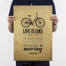 La vida es como montar una bicicleta nostálgico retro papel kraft poster vintage carteles para la decoración del hogar de la sala de estar 51x35cm HD115