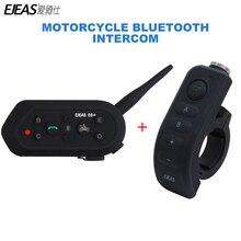 Ejeas E6 плюс BT Мотоцикл гарнитура 6 гонщиков 1200 м Communicator шлем переговорные VOX Bluetooth Шлем Интерком с ручкой бар