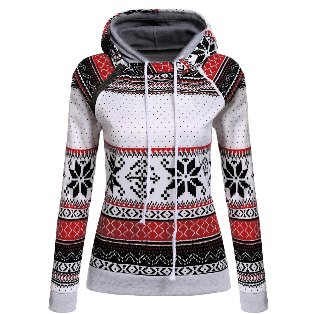 Women Hoodies Sweatshirts Hoodie 2017 Autumn Top Casual Asymmetrical Raglan Long Sleeve Snowflake Print Pullover Sweatshirts Top