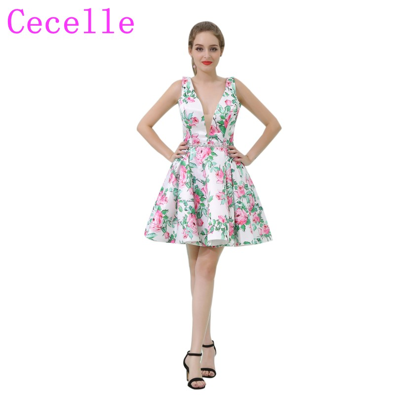 White And Green Floral Print Short Cocktail Dress Sleeveless A Line