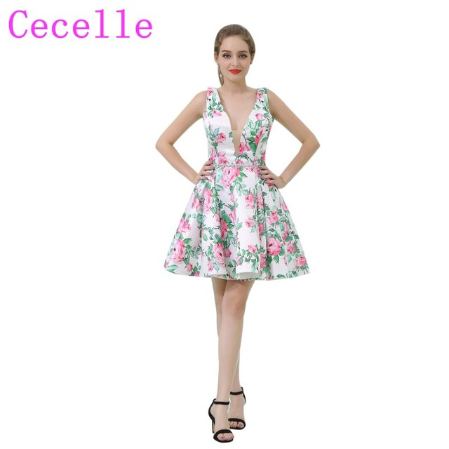 White and Green Floral Print Short Cocktail Dress Sleeveless A line ...