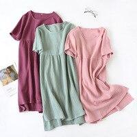 Летняя пижама 100% хлопок креп с коротким рукавом пижамы плюс размер свободные ночные рубашки женская ночная сорочка сексуальное спящее плат...