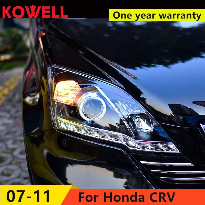 KOWELL Car Styling ForHonda CRV headlights 2007 2011 For CRV LED head lamp Angel eye led