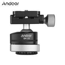 Andoer BK 25 adaptador de montaje de cabeza de bola de trípode de aleación de aluminio con tornillo de 1/4 pulgadas o 3/8 pulgadas carga máxima de 15kg/33lbs