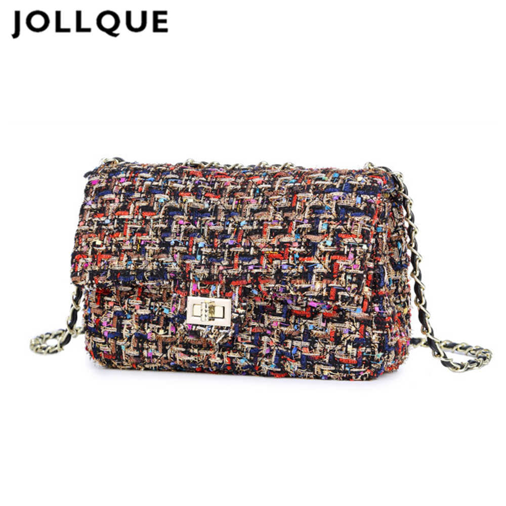 Jollque Womens Luxury Handbag Winter Crossbody Bags for Women Plaid Chain Flap Shoulder Bag Tweed Pink Purse Bolsas Femininas