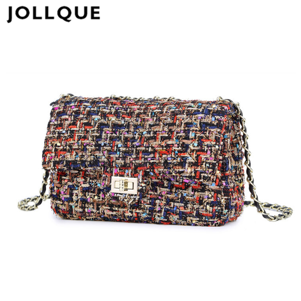 Jollque dames luxe handtas crossbody voor dames geruite ketting flap schoudertas dames mini tweed roze bolsas femininas