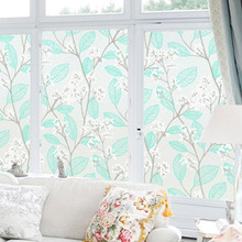 Blue flower tree static window film bathroom toilet sliding door opaque glass Foil stickers Anti-Translucent Cellophane