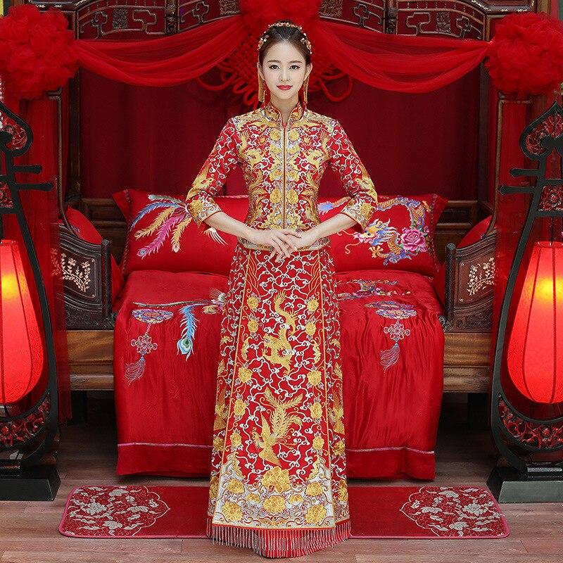 Luxe antique Royal rouge chinois robe de mariée traditionnelle mariée broderie Cheongsam femmes Oriental Dragon Phoenix QiPao fête