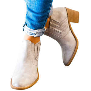 Image 3 - 2020 New Women Ankle Boots Block High Heels Botas Zapatos Mujer Retro Leather Winter Shoes Woman Plus Size Booties Cowboy Boots