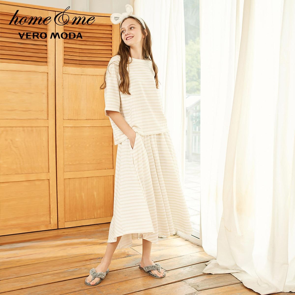 Vero Moda Women's 100% Cotton Loose Fit Striped Nightwear Suit Pajamas Sets | 3191TS501