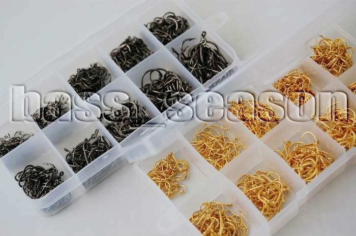 1000 Pcs 10 Different Sizes 2 Colors Fishing Hooks Plastic Box