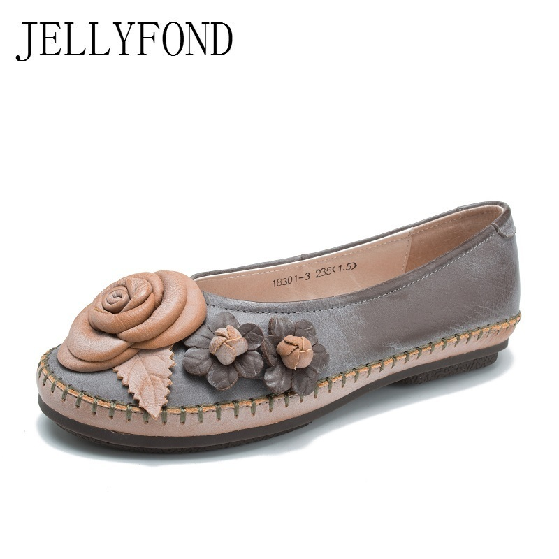 Genuine Leather Handmade Flower Flats Women Round Toes Slip On Driving Loafers 2018 Spring Designer Vintage Casual Shoes Woman 2017 vintage style real leather women flats brife pointed toe slip on handmade genuine leather designer shoes woman