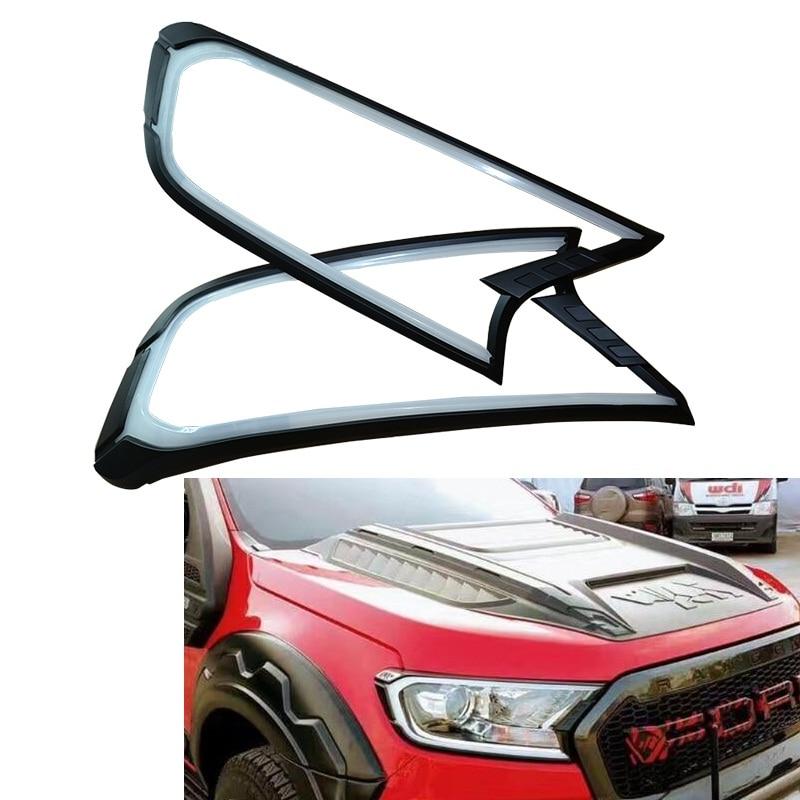 Citycarauto led phares diurnes cover Versions lampe hottes fit pour ford RANGER T7 XTL Wildtrak RAMASSAGE EVEREST endeavor 2015-2017