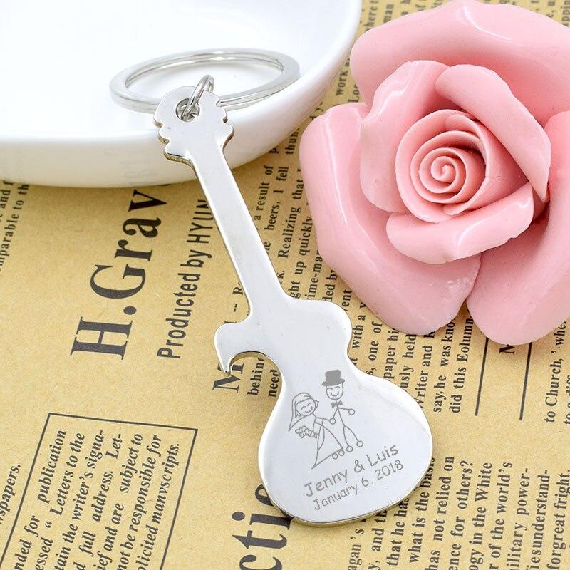 50x Guitar Shape Beer Bottle Opener Metal Keychain Personalized Wedding Favor Gift Custom Engraved Silver Key