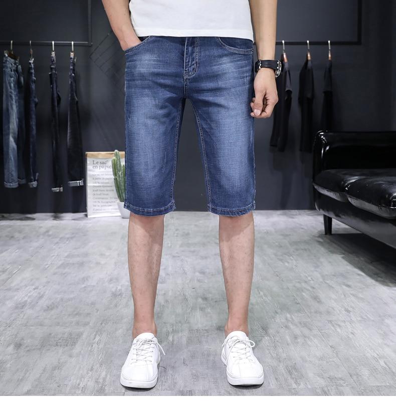 KSTUN Jeans for Men Summer Denim Short Pants Light Blue Elasticity Ultrathin Slim Fit Men's Clothes Man Jeans Brand 2018  Homme 13