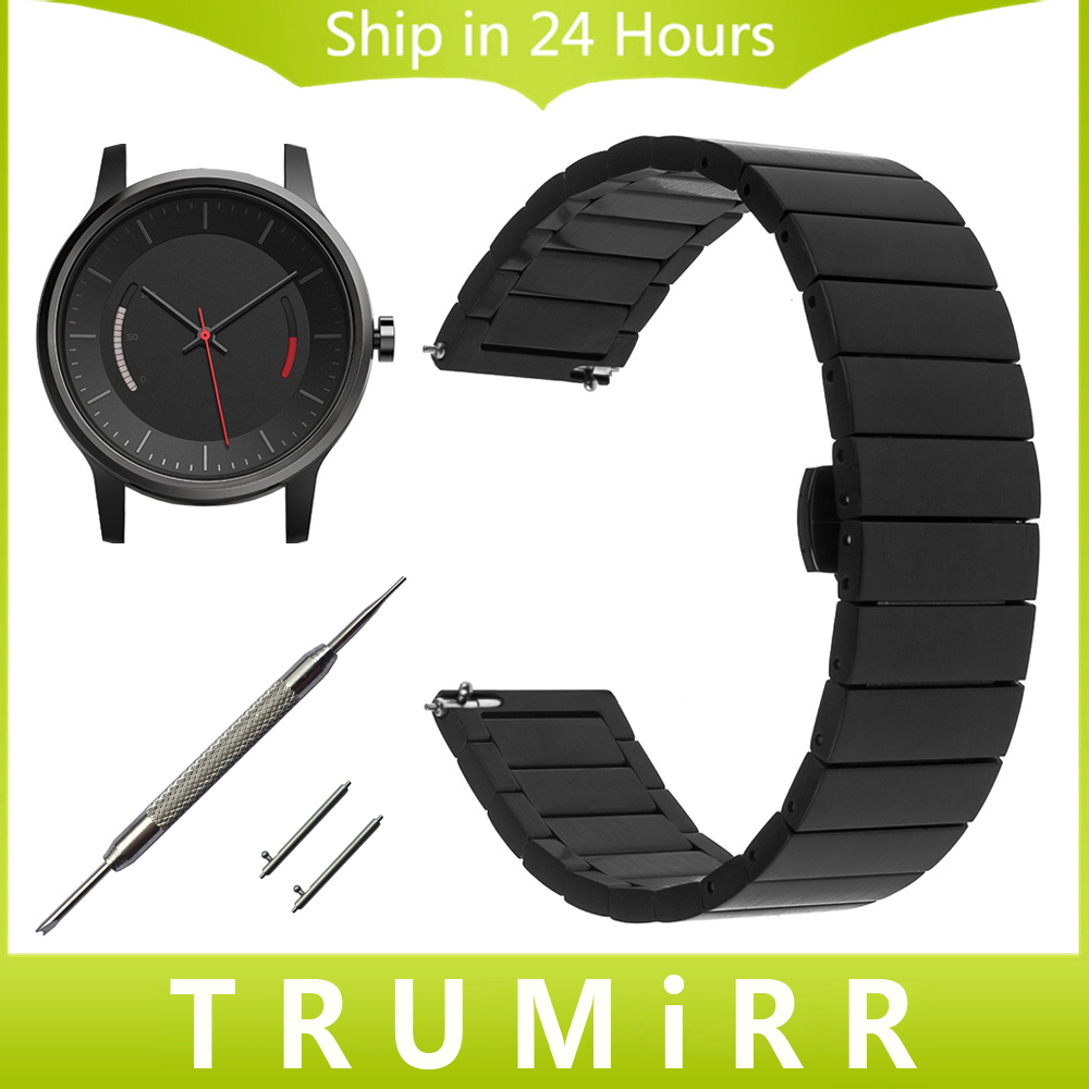 цена 20mm Quick Release Watchband for Garmin Vivomove Stainless Steel Watch Band Link Strap Butterfly Buckle Bracelet Black Silver онлайн в 2017 году