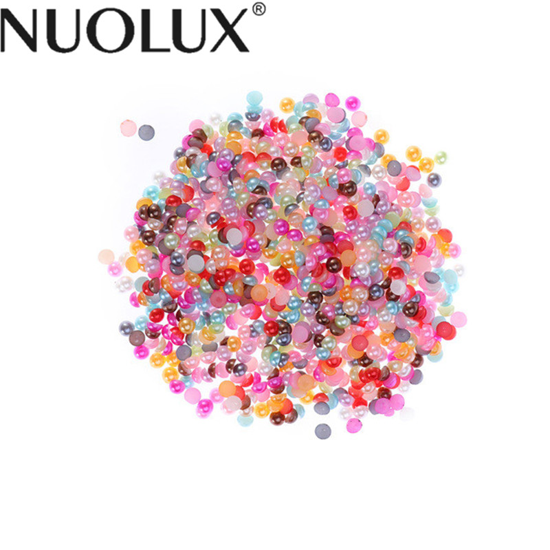 2000pcs Half Round Imitation ABS Pearl Beads Flat Back Pearl Cabochons For Craft DIY Gift Making Supplies