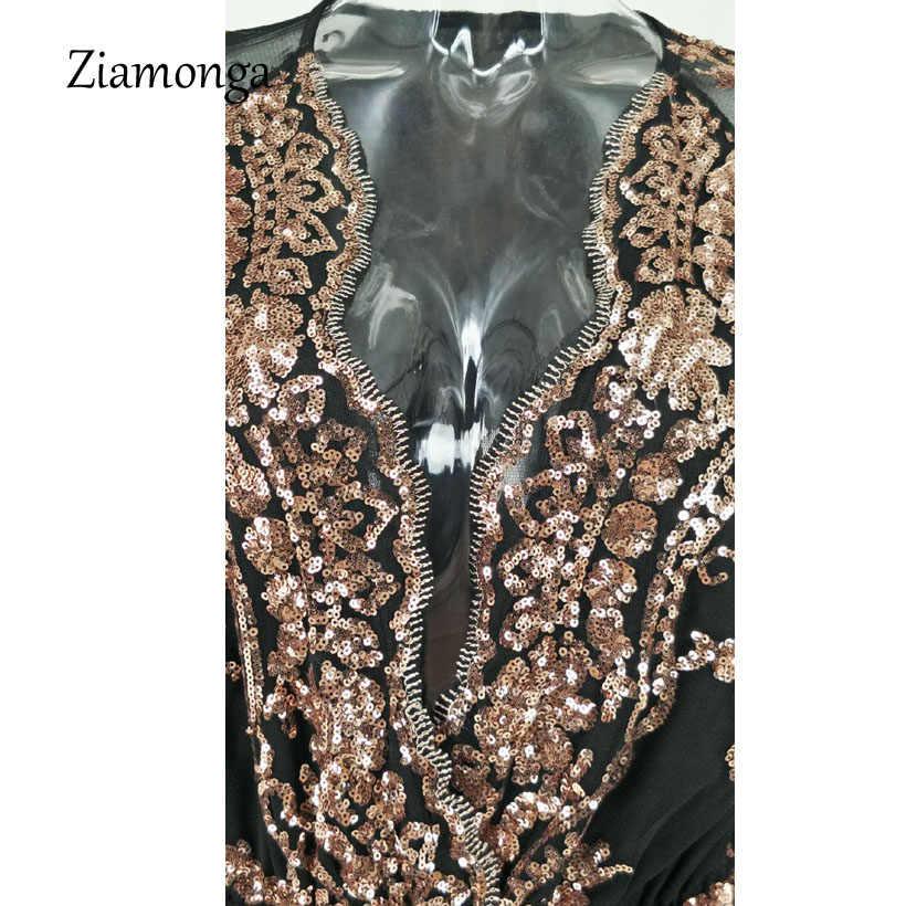 Ziamonga Sexy v-образным вырезом Блестки боди Для женщин 2019 Модные свободные