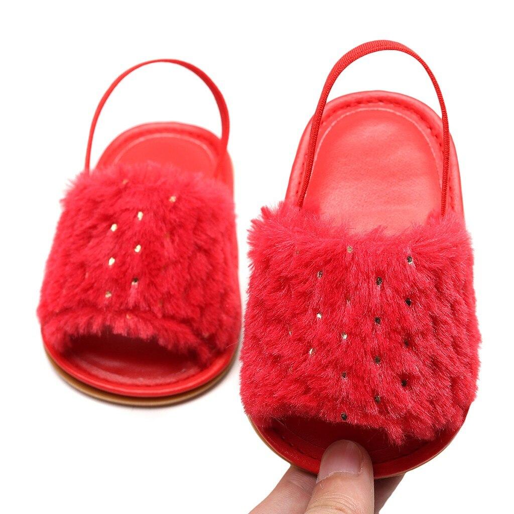Toddler Infant Baby Girls Sequins Solid Flock Soft Sandals Slipper Casual Shoes 2018 New Summer Girl Non-slip Kids Sandal